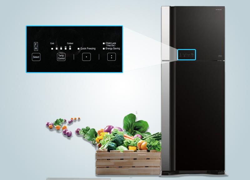 Bảng điều khiển của tủ lạnh Hitachi R-VG540PGV3 có tính năng cảm ứng