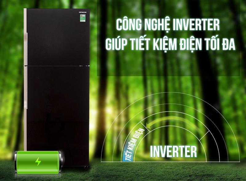 Công nghệ Inverter của tủ lạnh Hitachi R-VG470PGV3 giảm tối đa sự hao phí điện năng