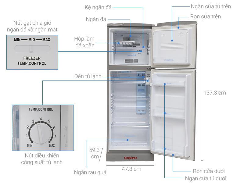 Thông số kỹ thuật Tủ lạnh Sanyo SR-165RN 150 lít