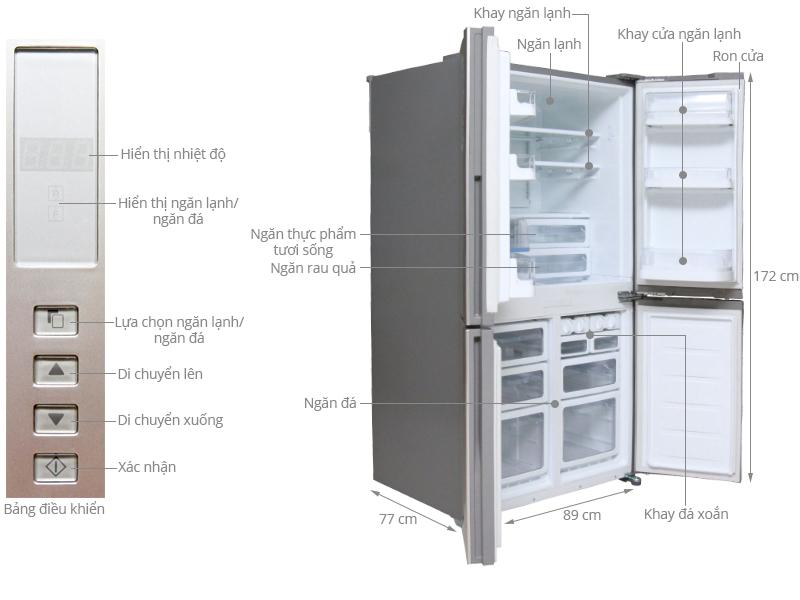 Thông số kỹ thuật Tủ lạnh Sharp SJ-FB74V 626 lít