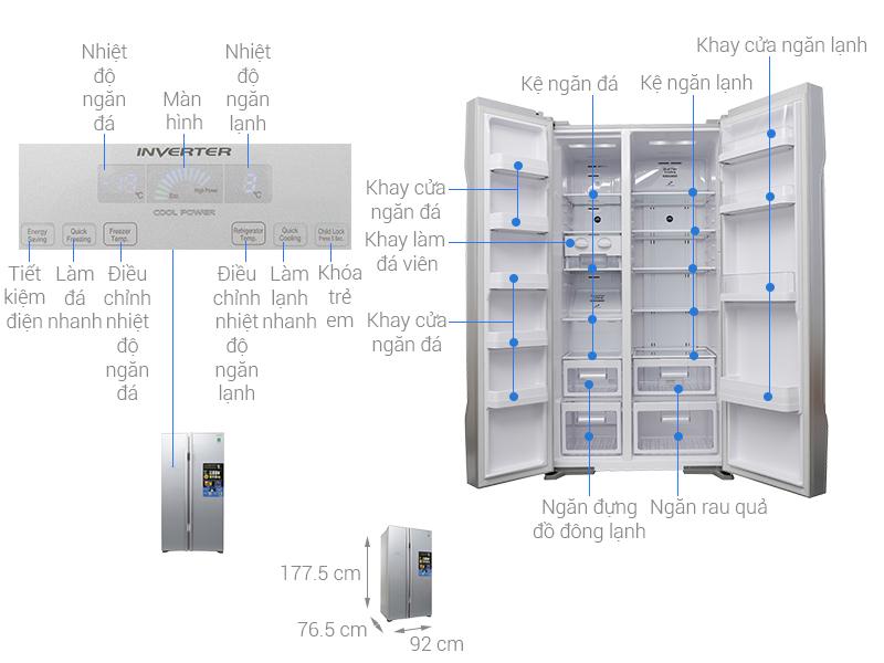 Thông số kỹ thuật Tủ lạnh Hitachi Inverter 605 lít R-S700PGV2 GS