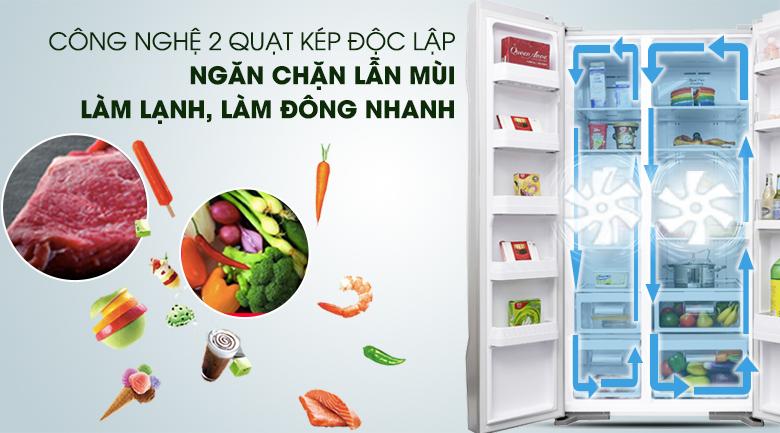 Hệ thống làm lạnh độc lập hiện đại - Tủ lạnh Hitachi Inverter 605 lít R-S700PGV2 GS