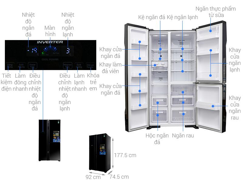 Thông số kỹ thuật Tủ lạnh Hitachi Inverter 600 lít R-M700PGV2