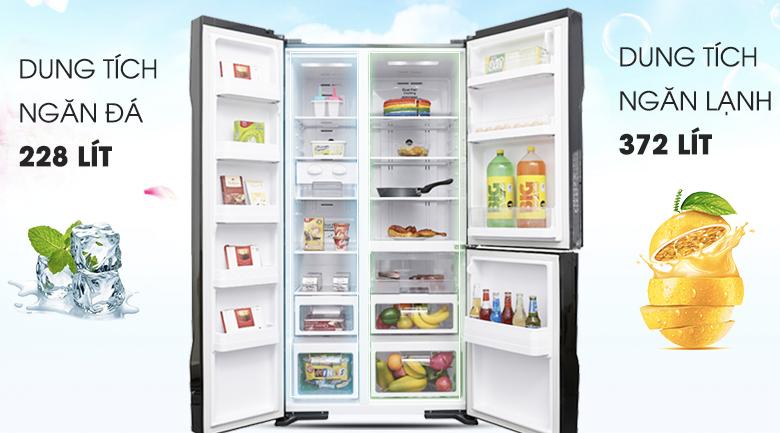 Dung tích lớn đáp ứng tốt nhu cầu sử dụng - Tủ lạnh Hitachi Inverter 600 lít R-M700PGV2 GBK