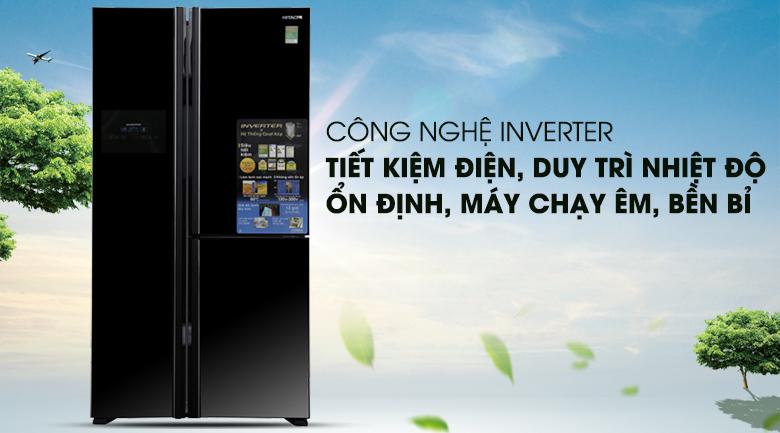 Công nghệ Inverter vận hành êm ái, ổn định - Tủ lạnh Hitachi Inverter 600 lít R-M700PGV2 GBK