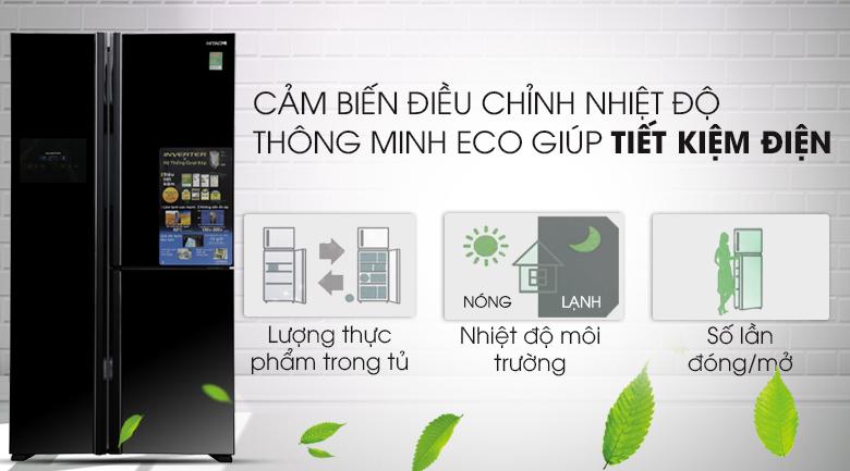 Cảm biết Eco tiết kiệm tối ưu năng lượng - Tủ lạnh Hitachi Inverter 600 lít R-M700PGV2 GBK