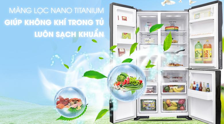Kháng khuẩn, khử mùi với màng lọc Nano Titanium - Tủ lạnh Hitachi Inverter 600 lít R-M700PGV2 GBK