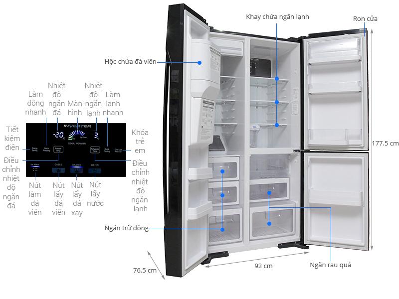 Thông số kỹ thuật Tủ lạnh Hitachi Inverter 584 lít R-M700GPGV2 GBK