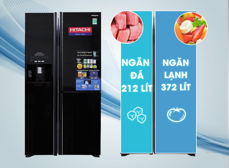 Tủ lạnh Hitachi R-M700GPGV2 có thiết kế sang trọng với ba cửa
