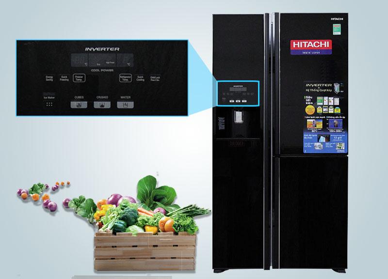 Tủ lạnh Hitachi R-M700GPGV2 có bảng điều khiển cảm ứng ở bên ngoài