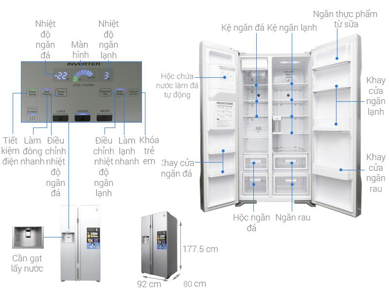 Thông số kỹ thuật Tủ lạnh Hitachi Inverter 589 lít R-S700GPGV2 GS