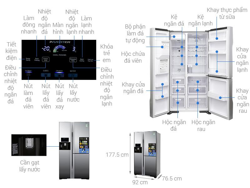 Thông số kỹ thuật Tủ lạnh Hitachi Inverter 584 lít R-M700GPGV2X MIR
