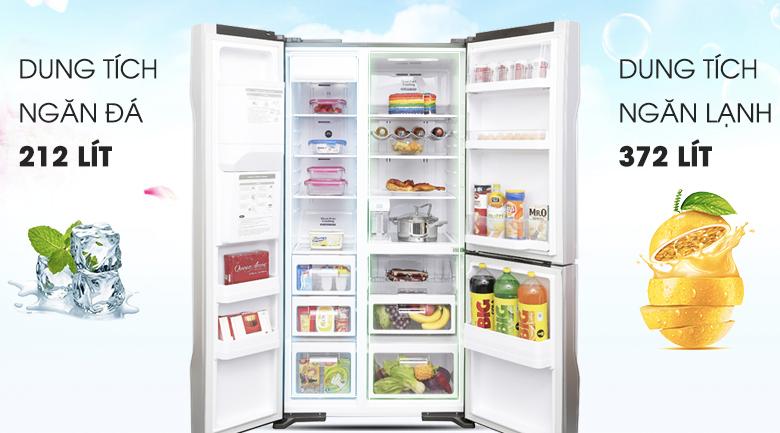 Dung tích 584 lít tiện dụng - Tủ lạnh Hitachi Inverter 584 lít R-M700GPGV2X MIR