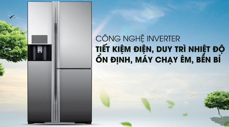 Vận hành ổn định, tiết kiệm với công nghệ Inverter - Tủ lạnh Hitachi Inverter 584 lít R-M700GPGV2X MIR