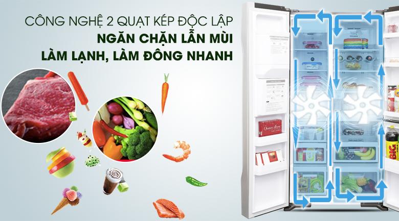 Làm lạnh nhanh hơn với hệ thống làm lạnh kép - Tủ lạnh Hitachi Inverter 584 lít R-M700GPGV2X MIR