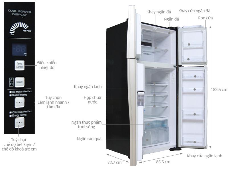 Thông số kỹ thuật Tủ lạnh Hitachi 540 lít R-W660FPGV3X GBK