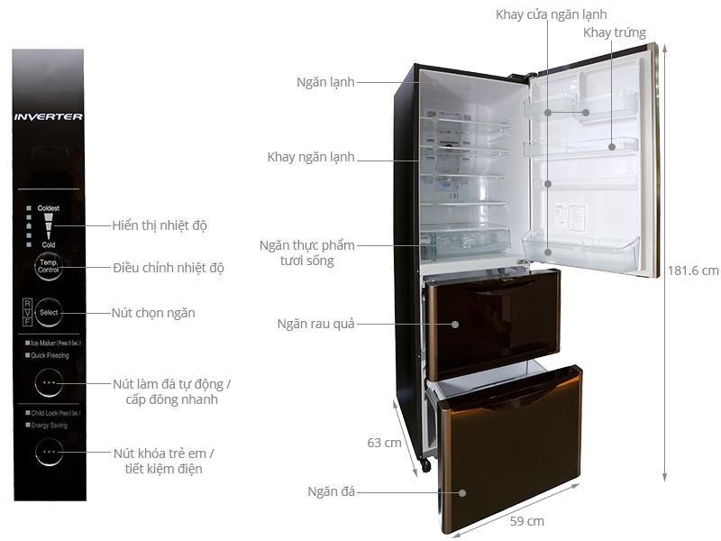 Thông số kỹ thuật Tủ lạnh Hitachi 365 lít R-SG37BPG