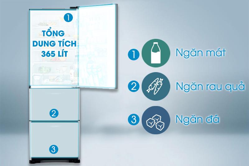 Tủ lạnh Hitachi R-SG37BPG thuộc dòng tủ lạnh ba cửa với nhiều tiện ích đặc biệt