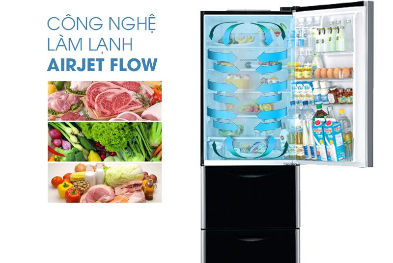 Công nghệ làm lạnh Air Jetflow của tủ lạnh Hitachi R-SG37BPG mang luồng khí mát đến nhiều vị trí khác nhau