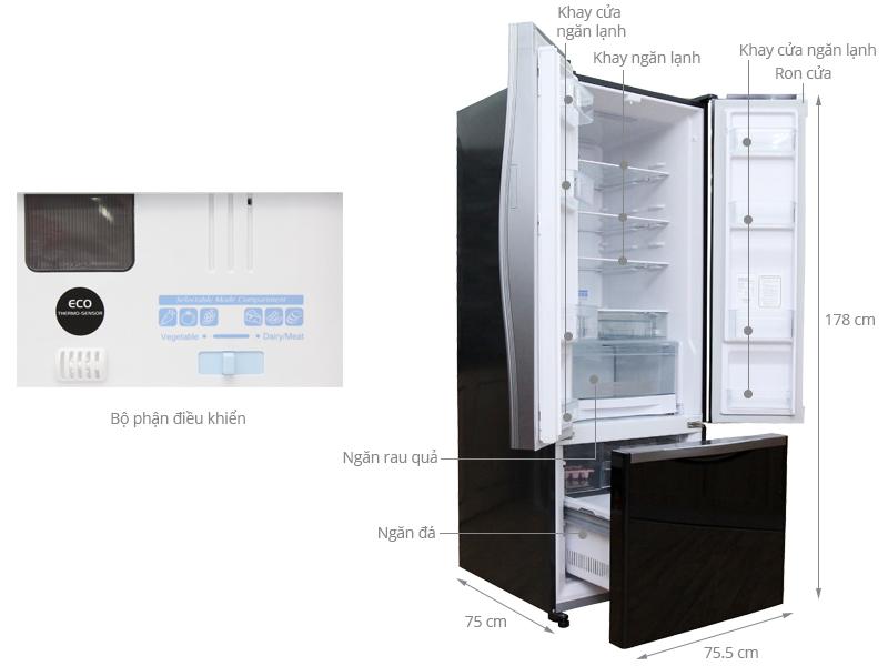 Thông số kỹ thuật Tủ lạnh Hitachi 382 lít R-WB475PGV2