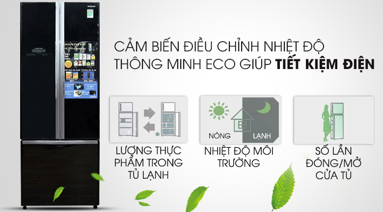 Tích hợp cảm biến Eco thông minh  - Tủ lạnh Hitachi Inverter 382 lít R-WB475PGV2 GBK