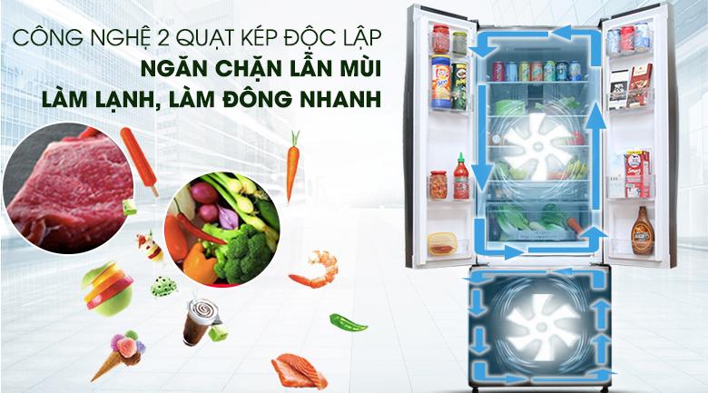 Làm lạnh nhanh hơn với hệ thống làm lạnh kép - Tủ lạnh Hitachi Inverter 382 lít R-WB475PGV2 GBK