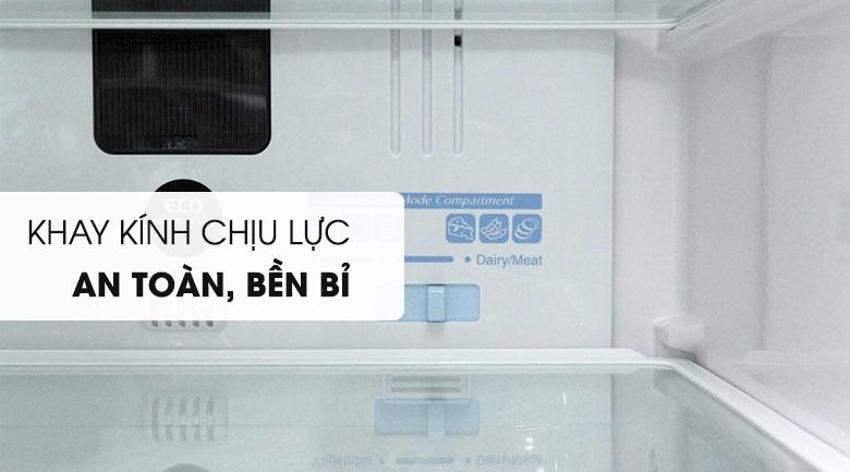 Khay kính chịu lực bền bỉ - Tủ lạnh Hitachi Inverter 382 lít R-WB475PGV2 GBK