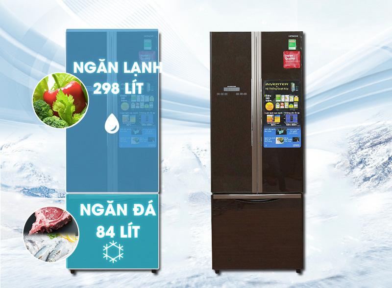 Tủ lạnh Hitachi R-WB475PGV2 có dung tích lớn đến 382 lít