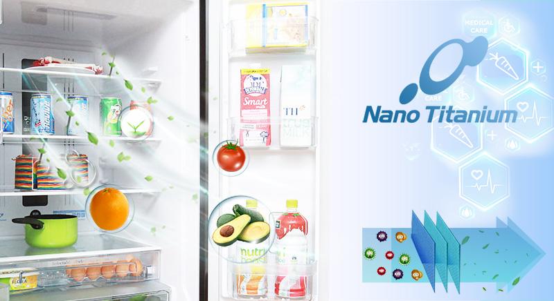 Công nghệ kháng khuẩn, khử mùi của tủ lạnh Hitachi R-WB475PGV2 có tên là Nano Titanium