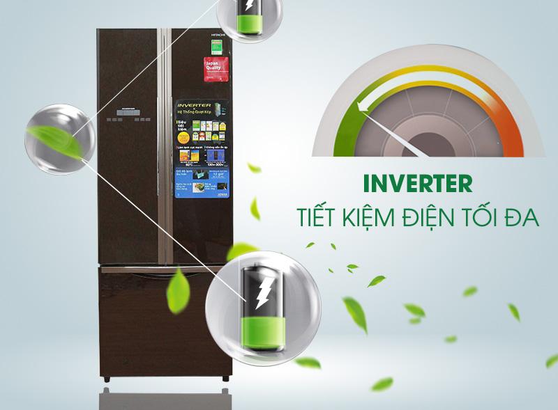 Tủ lạnh Hitachi R-WB475PGV2 có công nghệ Inverter tiết kiệm điện