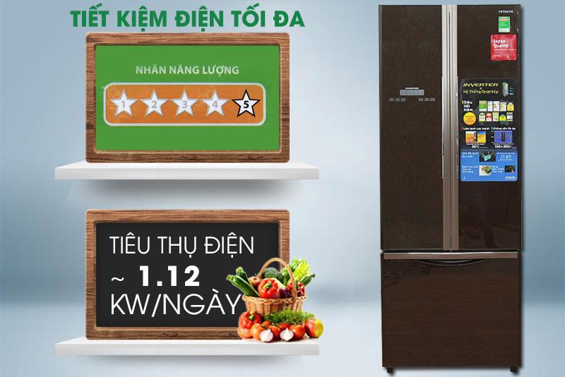 Nhờ đó, tủ lạnh Hitachi R-WB475PGV2 sẽ tiêu thụ khoảng 1.12 kW điện mỗi ngày