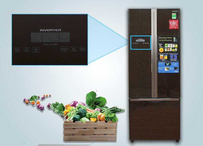 Tủ lạnh Hitachi R-WB475PGV2 có chức năng điều khiển cảm ứng, để khách hàng nhanh chóng tùy chỉnh nhiệt độ tủ lạnh hơn