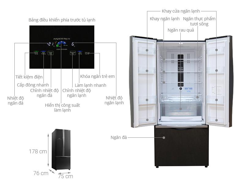 Thông số kỹ thuật Tủ lạnh Hitachi Inverter 429 lít R-WB545PGV2 GBK