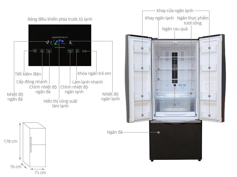 Thông số kỹ thuật Tủ lạnh Hitachi 429 lít R-WB545PGV2