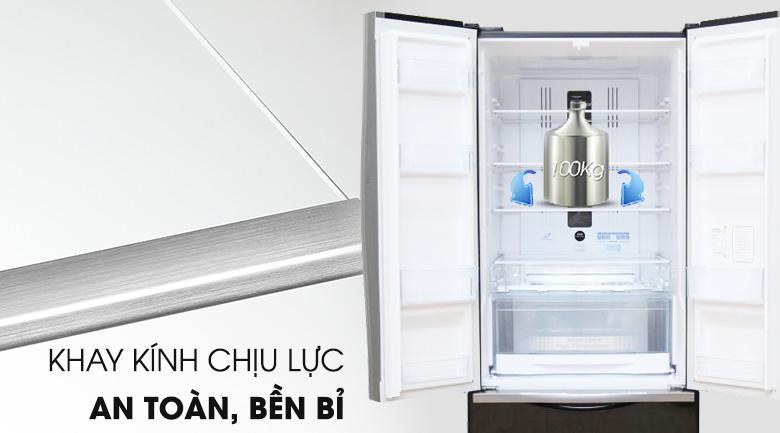 Khay kính chịu lực chắc chắn - Tủ lạnh Hitachi Inverter 429 lít R-WB545PGV2 GBK