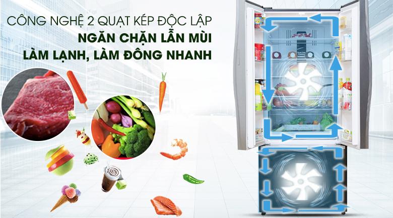 Hệ thống làm lạnh kép - Tủ lạnh Hitachi Inverter 429 lít R-WB545PGV2 GBK