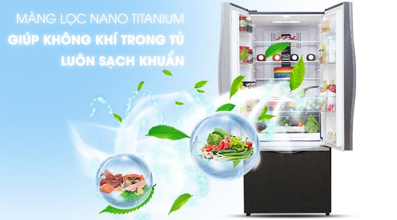 Màng lọc Nano Titanium giúp khử mùi và kháng khuẩn mạnh - Tủ lạnh Hitachi Inverter 429 lít R-WB545PGV2 GBK
