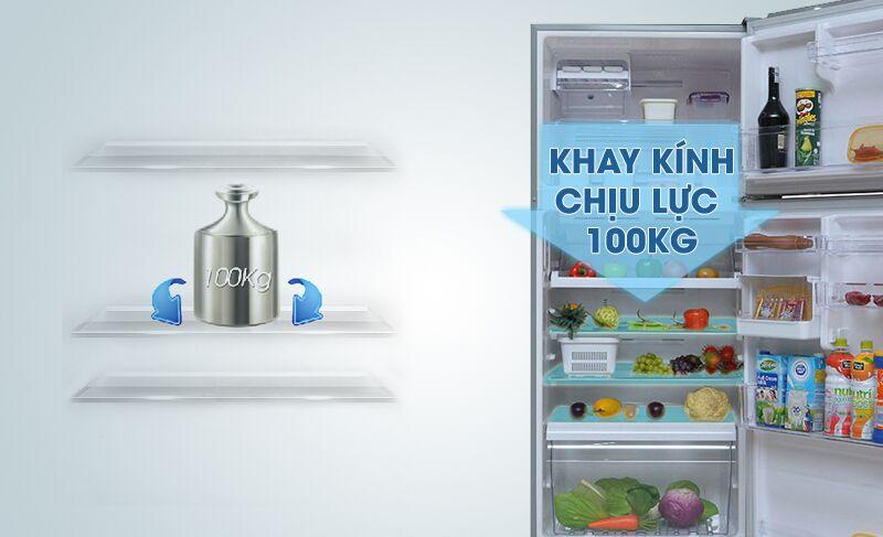 Khay kính của tủ lạnh Toshiba GR-T41VUBZ FS có thể chịu lực được khá lớn