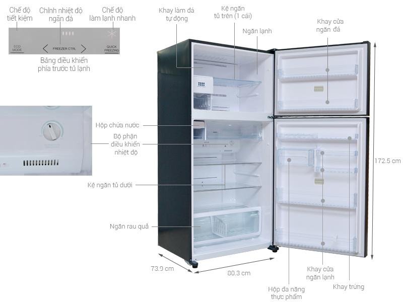 Thông số kỹ thuật Tủ lạnh Toshiba Inverter 546 lít GR-WG58VDAZ