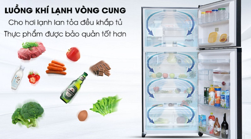 Hệ thống làm lạnh vòng cung giúp làm lạnh ổn định hơn - Tủ lạnh Toshiba Inverter 546 lít GR-WG58VDAZ