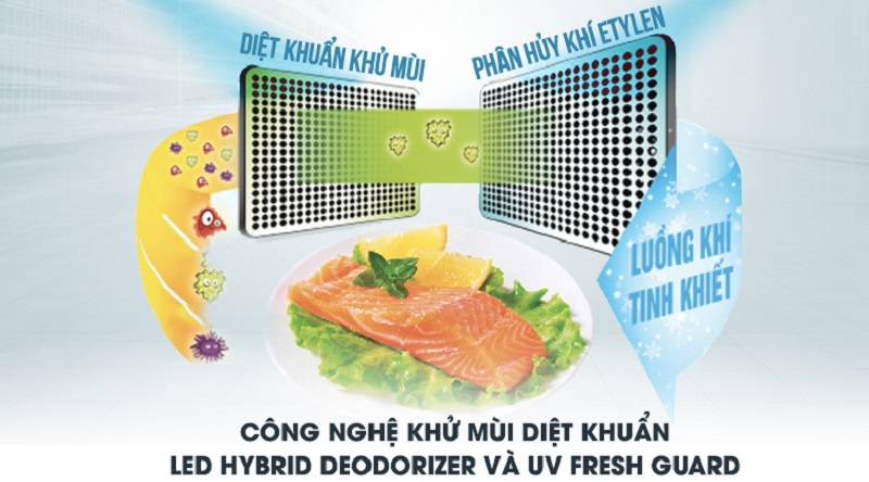 Sử dụng công nghệ khử mùi diệt khuẩn LED HYBRID và UV FRESH GUARD - Tủ lạnh Toshiba Inverter 546 lít GR-WG58VDAZ