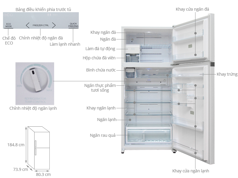 Thông số kỹ thuật Tủ lạnh Toshiba Inverter 600 lít GR-WG66VDAZ