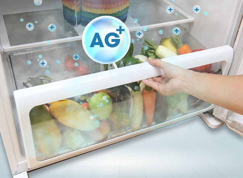 Ngăn rau quả với tinh thể bạc Ag+ Crisper khử mùi