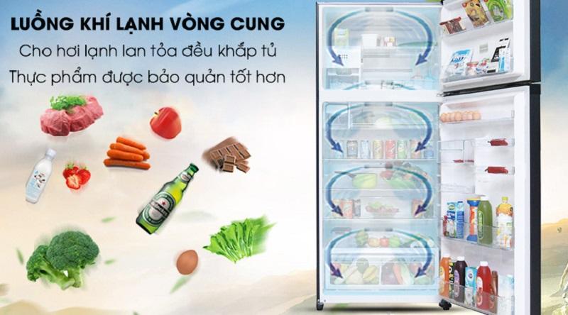 Làm lạnh tốt hơn với luồng khí lạnh vòng cung - Tủ lạnh Toshiba Inverter 600 lít GR-WG66VDAZ