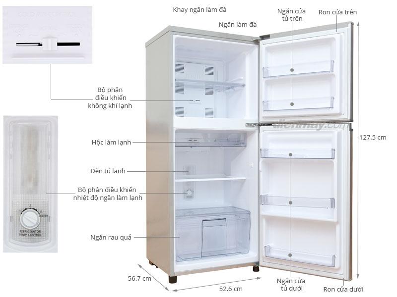 Thông số kỹ thuật Tủ lạnh Panasonic NR-BM189 167 lít