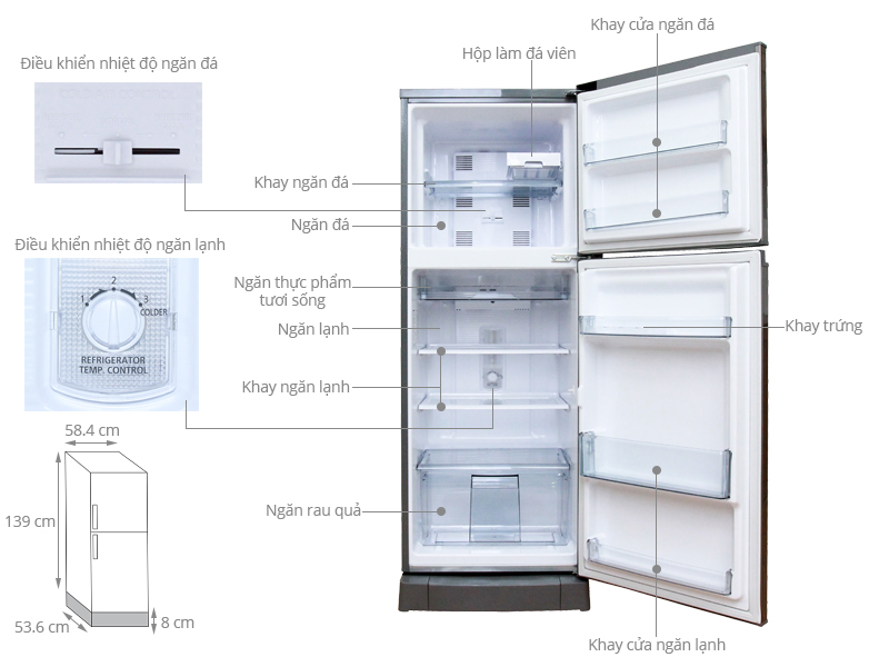 Thông số kỹ thuật Tủ lạnh Panasonic 188 lít NR-BM229MTVN
