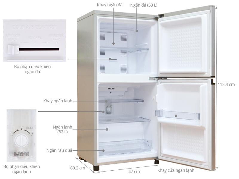 Thông số kỹ thuật Tủ lạnh Panasonic 135 lít NR-BJ151SSV1