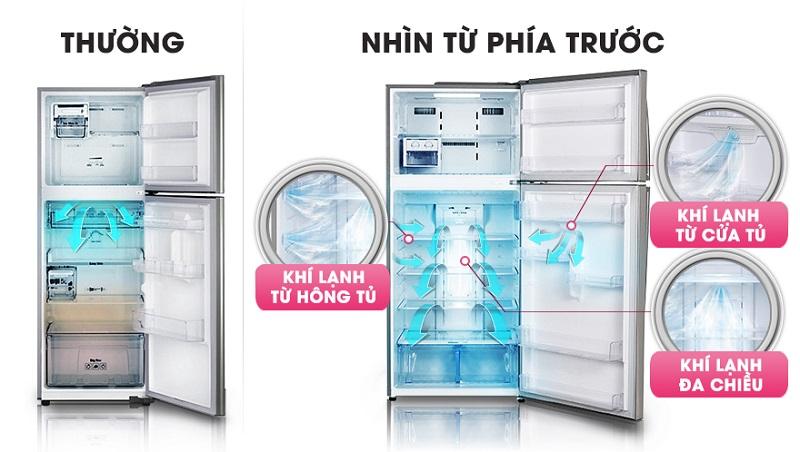 Với luồng khí lạnh 3 chiều, tủ lạnh LG GR-L602S sẽ đưa luồng khí lạnh đến tận từng ngóc ngách của tủ
