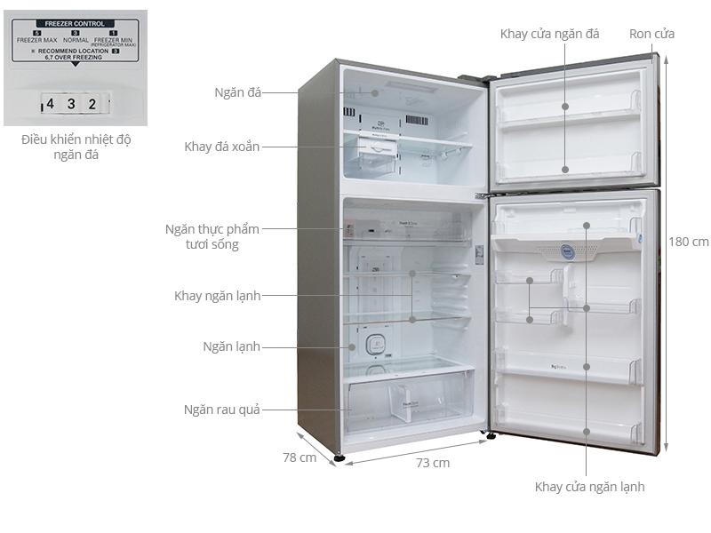Thông số kỹ thuật Tủ lạnh LG Inverter 490 lít GR-L702S