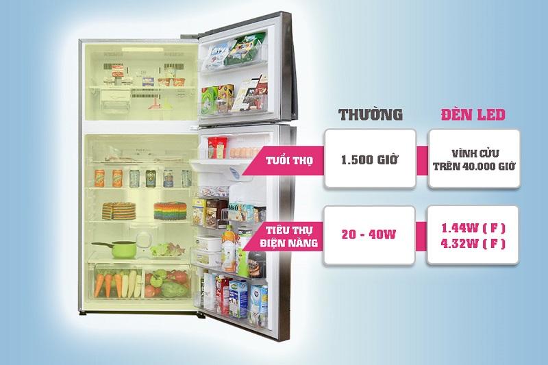 Tủ lạnh LG GR-L702S có tháp đèn LED không chỉ chiếu sáng mạnh mẽ và tiết kiệm điện